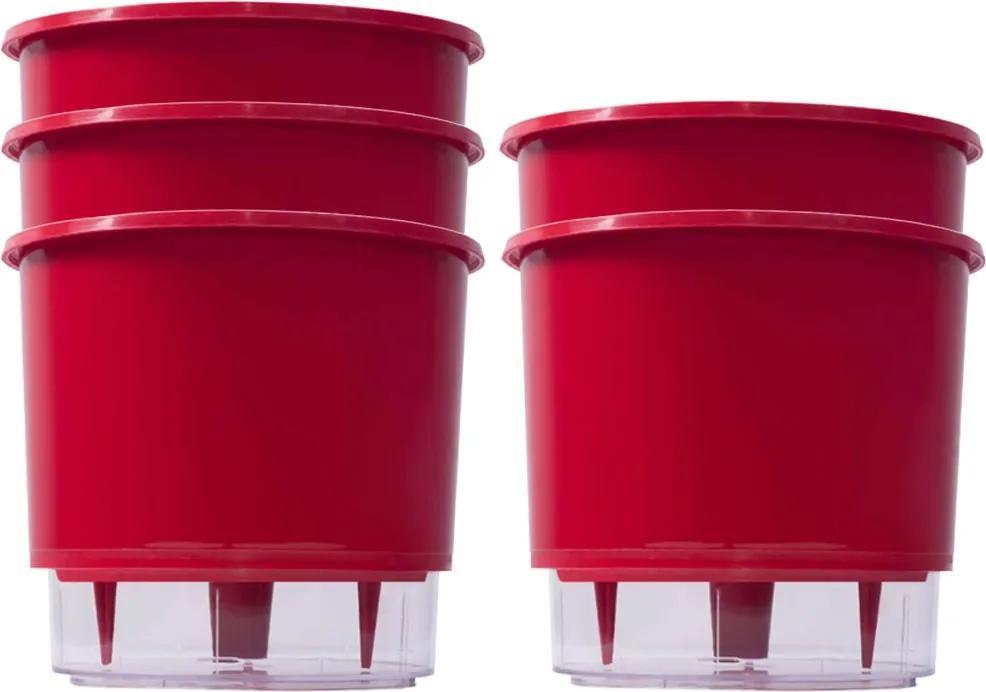 Kit 5 Vasos Raiz Auto Irrigável Vermelho 16x14 Autoirrigável