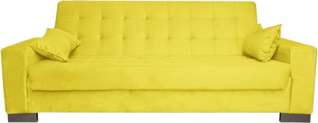 Sofá D'Rossi  Cama 2 Lugares para Sala de Estar Lisboa Suede Amarelo