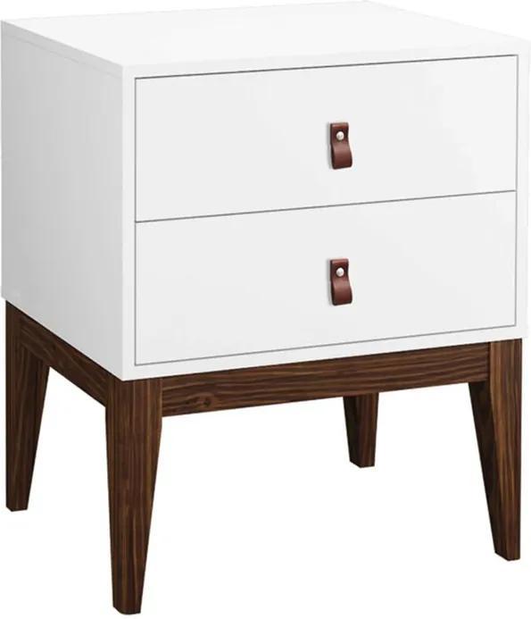Mesa de Cabeceira Detroit 2 Gavetas Branco - Wood Prime PA 44033