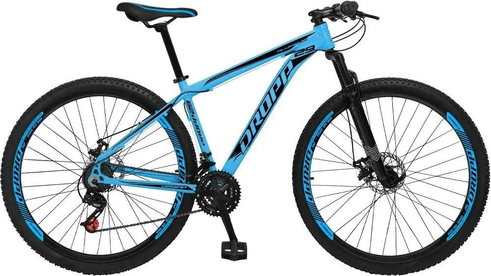 Bicicleta Aro 29 Freio a Disco Mecânico Quadro 19 Alumínio 21 Marchas Azul Preto - Dropp