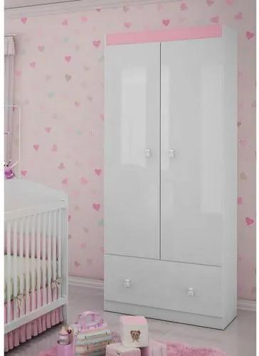 Roupeiro Infantil 2 Portas 1 Gaveta 1 Cabideiro Satrianii - Pintura UV - Flex Branco Brilho/ Rosa