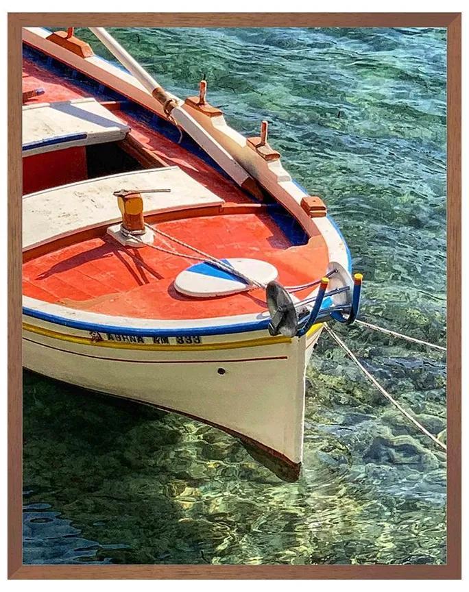 Quadro Decorativo Milos Foto Matte Proa de Barco Vermelho e Branco - CZ 44096