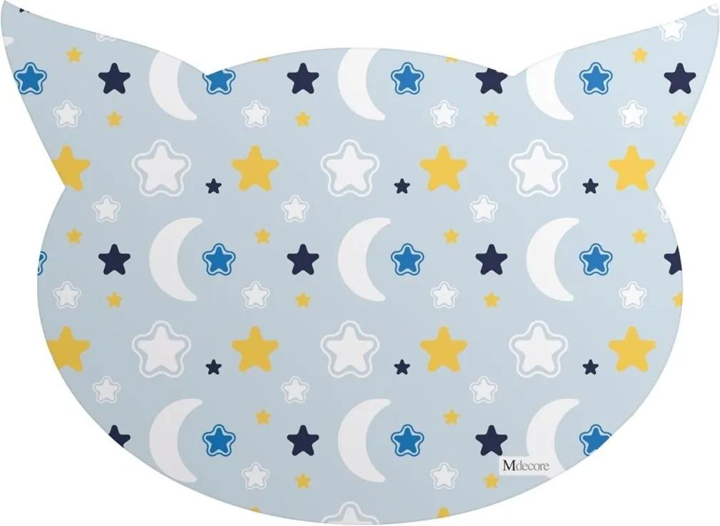 Tapete PET Mdecore Cabeça de Gato Lua Azul 54x39cm