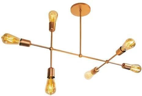 Luminária Sputnik Gun Industrial 6 hastes Assimetrico Soq: E27   Cor: Cobre   Tam: 60cm   Mod: Sputnik Gun