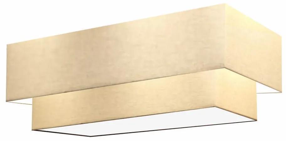 Plafon Duplo Retangular Vivare Md-3072 Cúpula em Tecido 99X40cm x 80X30cm - Bivolt - Algodão Crú - 110V/220V (Bivolt)