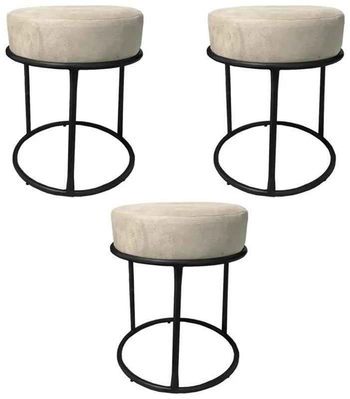 Kit 3 Puffs Decorativos Redondos Luxe Base de Aço Preta Suede Bege - Sheep Estofados - Bege