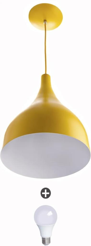 Lustre Pendente Gota Media Alumínio 30cm Amarelo + Lampadas