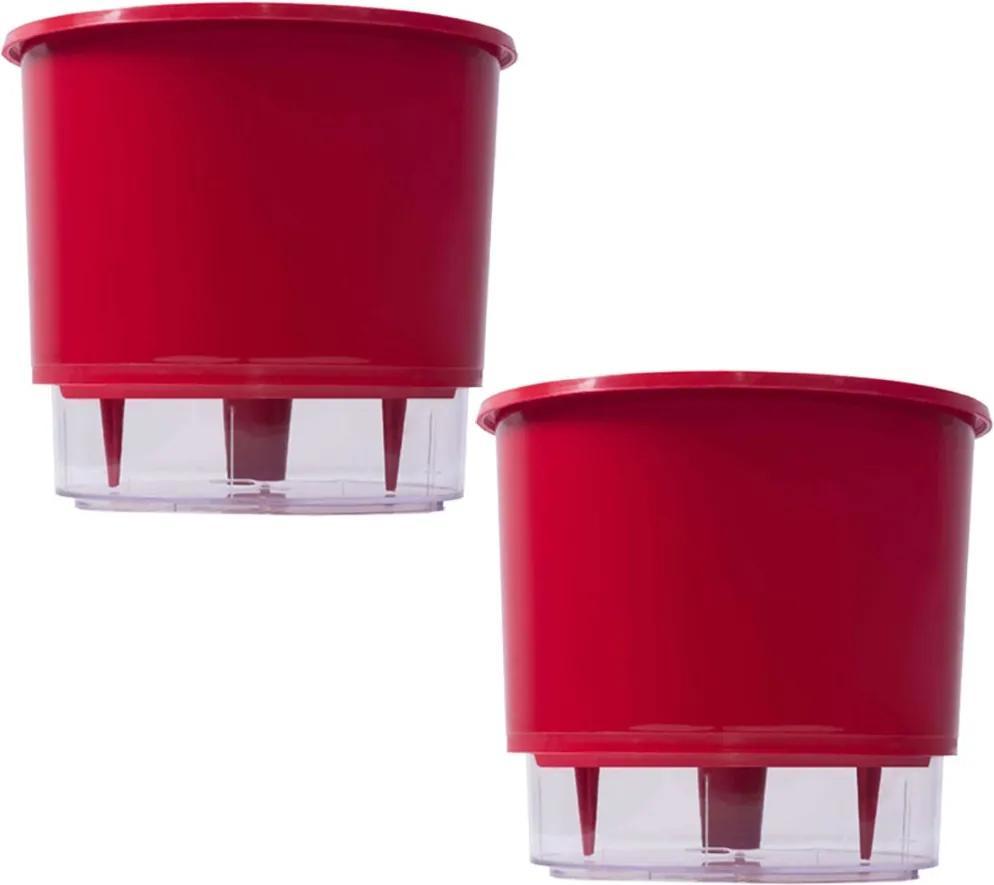Jogo 2 Vasos Raiz Auto Irrigável Rainbow Vermelho 12x11cm