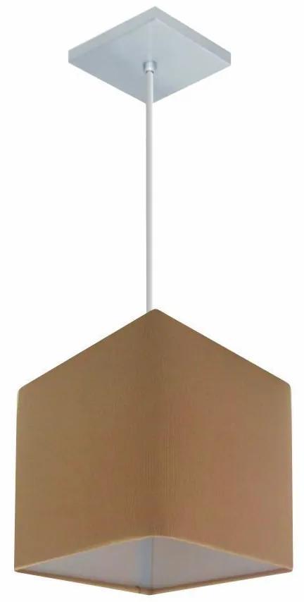 Lustre Pendente Quadrado Md-4223 Cúpula em Tecido 15/13x13cm Palha - Bivolt