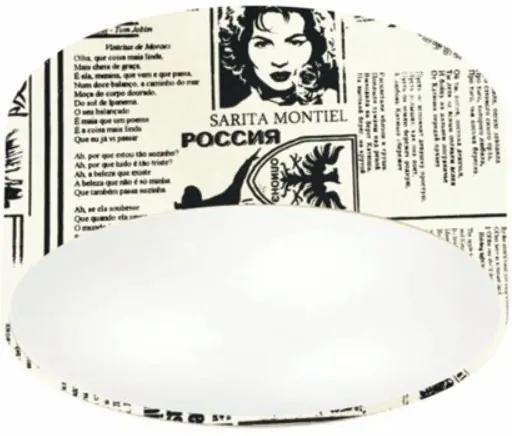 Plafon Cilíndrico Md-3010 Cúpula em Tecido 30x12cm Ny-Jornal - Bivolt