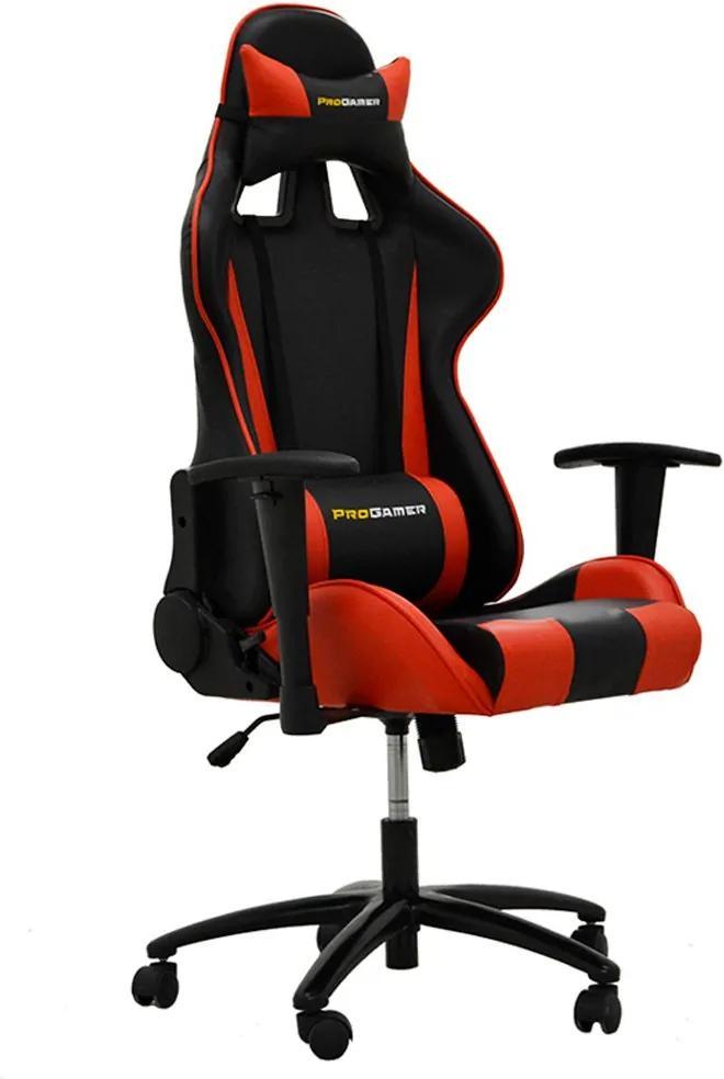Cadeira Gamer Giratória Reclinável com Regulagem de Altura Ergonômica PRO-V Sport PU Preto/Vermelho - Gran Belo