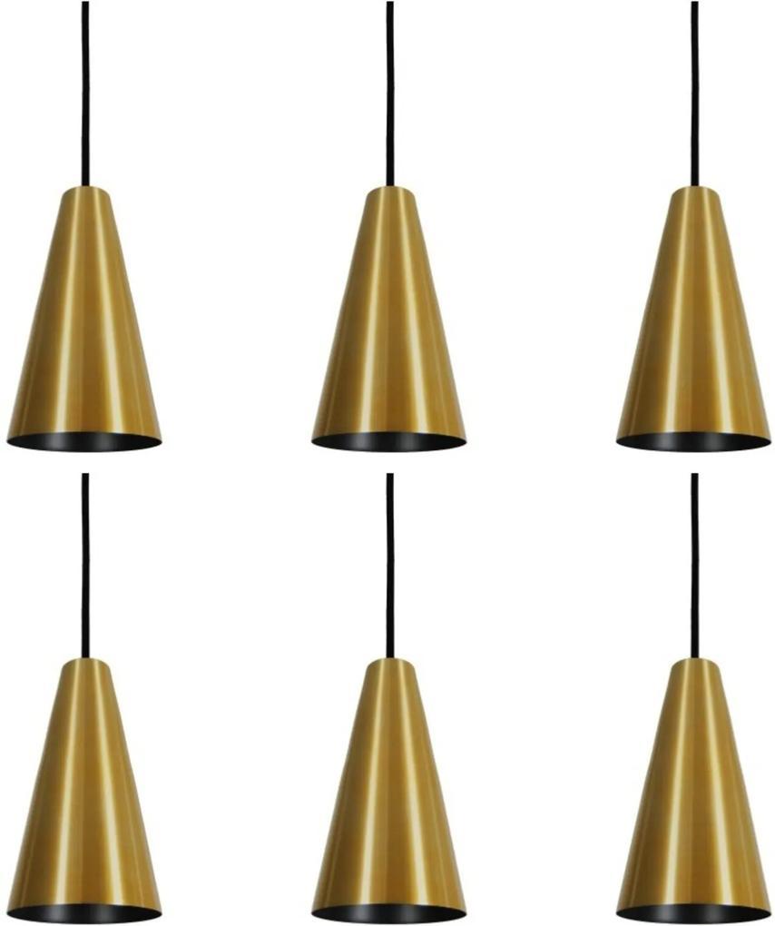 Pendente Cone Starlight Dourado Preto Kit com 6 CASAH