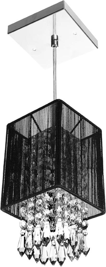 Pendente de Cupula Quadrado ClearFio Cristal Acrílico Preto