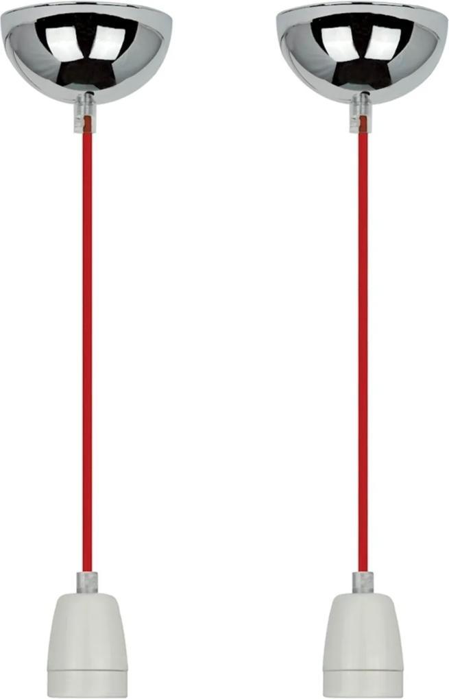 02 Pendentes Lamp Show Glam, 165Cm, Fio  Na Cor Vermelho E Branco