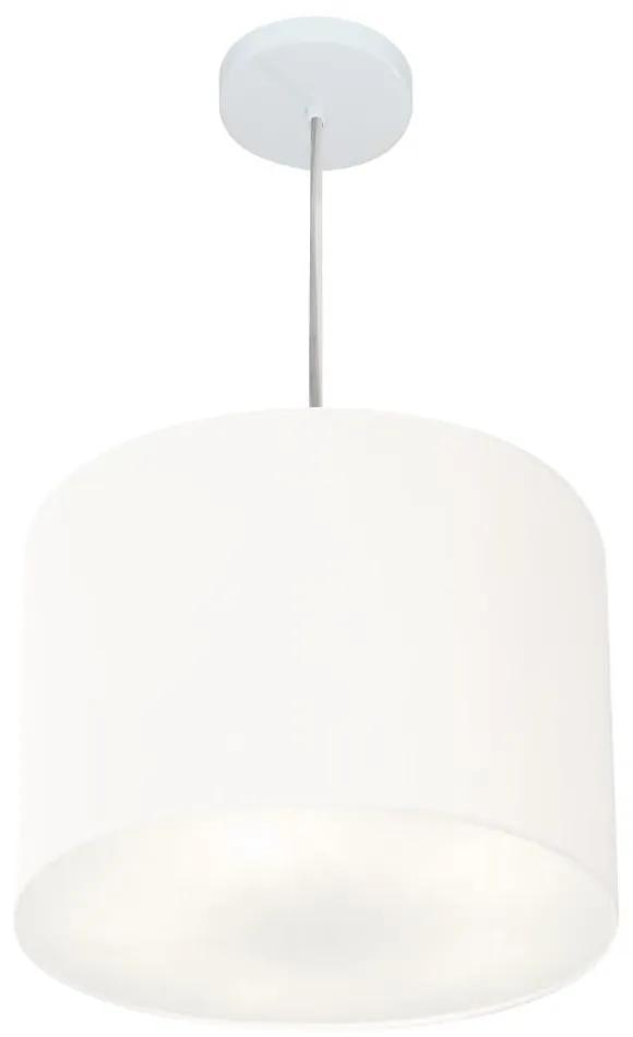 Lustre Pendente Cilíndrico Vivare Md-4216 Cúpula em Tecido 40x30cm - Bivolt - Branco - 110V/220V (Bivolt)