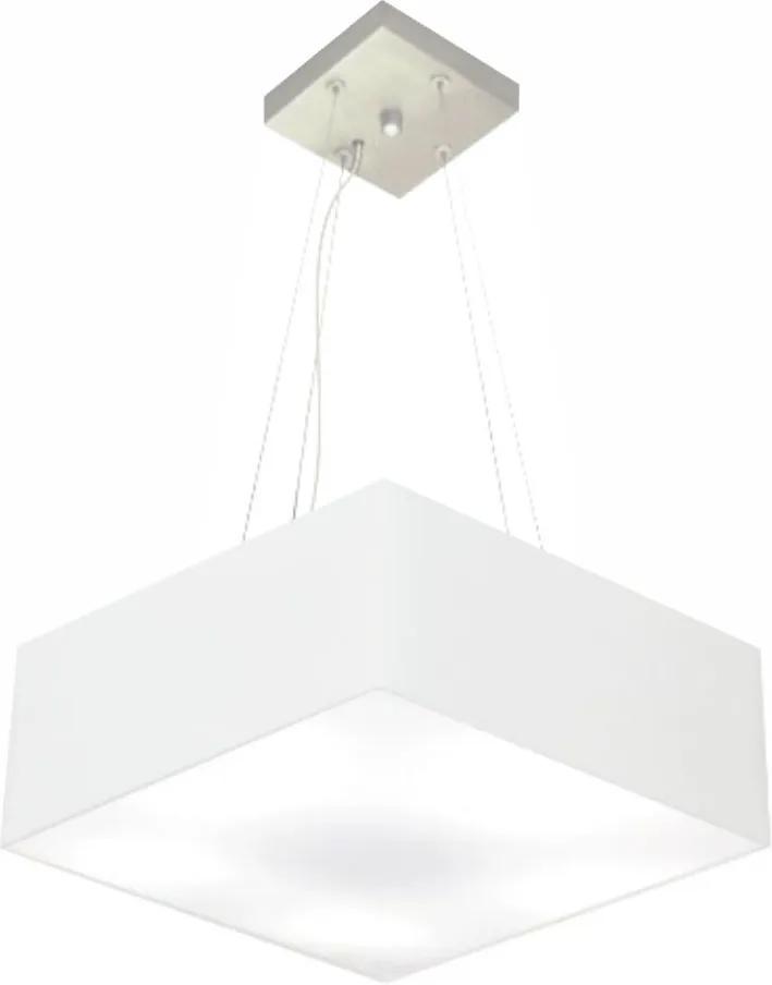 Lustre Pendente Quadrado Md-4194 Cúpula em Tecido 12/40x40cm Branco - Bivolt