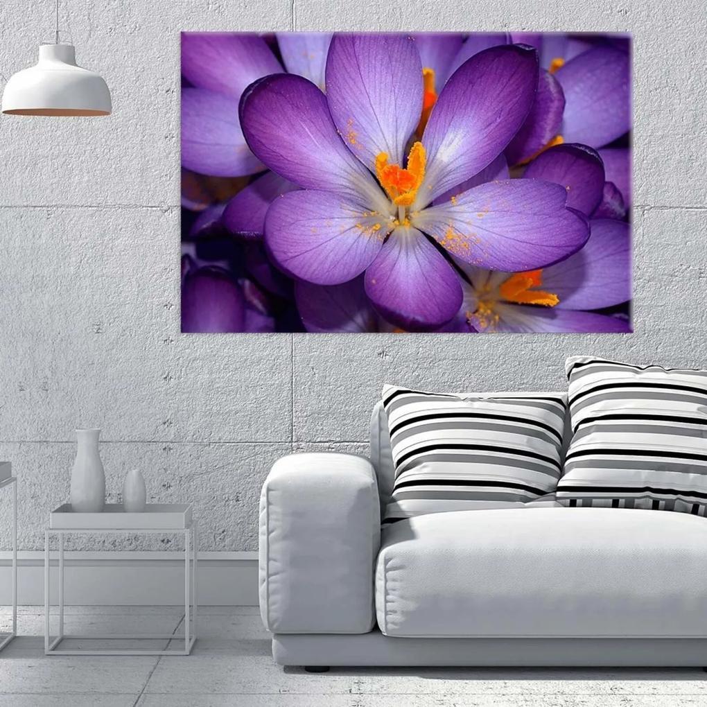 Tela Decorativa Flor Roxa Grande