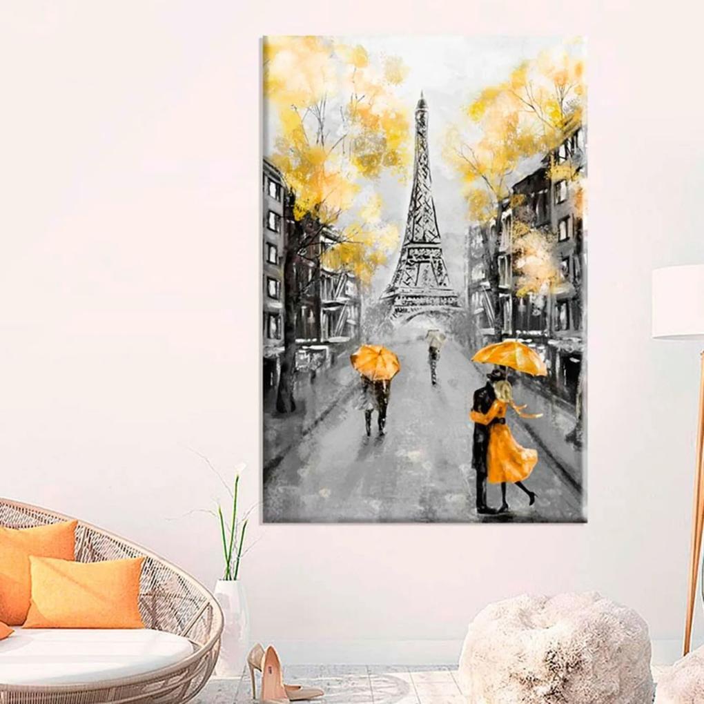Tela Decorativa Pintura Paris Amarelo Grande Love Decor
