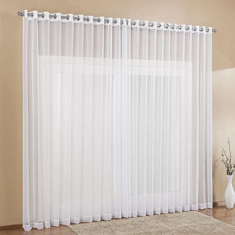 Cortina de Voil para Quarto ou Sala 4,00m x 2,80m Varão Simples com Ilhós Cromado - Branco