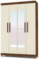 Guarda Roupa Casal Palmas 4 Portas e Espelho Imbuia/Champanhe - VLR Mó