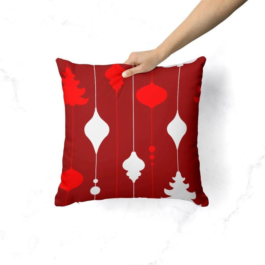 Capa de Almofada Avulsa Decorativa Elementos Natalinos Vermelho 35x35cm