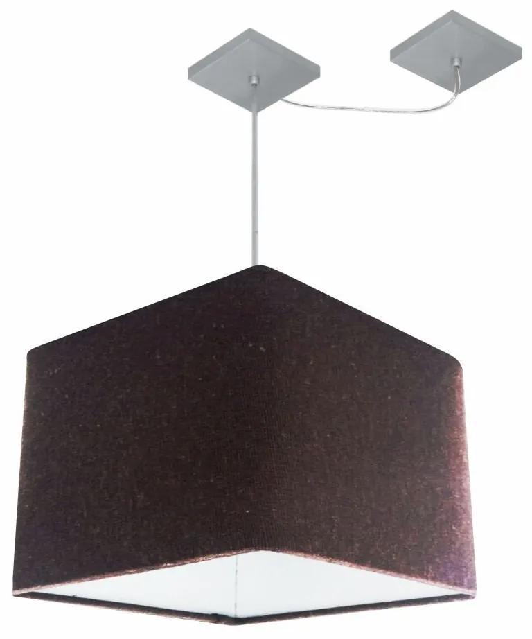 Lustre Pendente Quad C/ Desvio Md-4269 Cúpula em Tecido 30/40x40cm Café - Bivolt