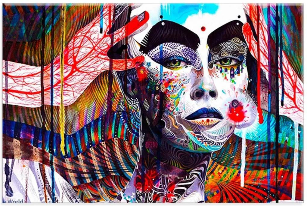 Tela Decorativa Color Face Life Médio Love Decor