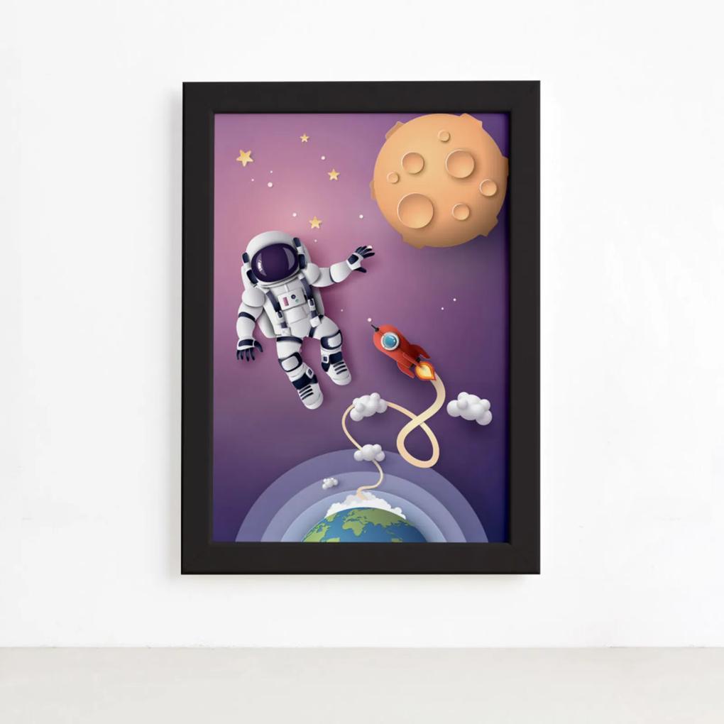 Quadro Astrounauta e Foguete no Espaço Moldura Preta 22x32cm