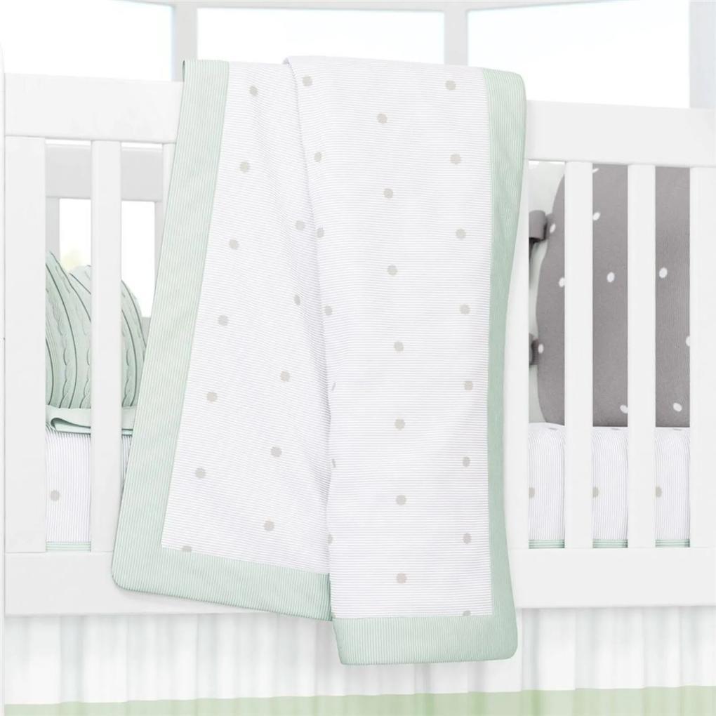 Manta Bebê Verde Tricot Estampa Poá 1,45m Grão de Gente Verde