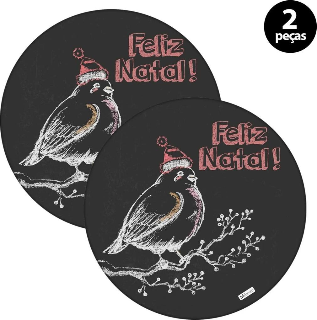 Sousplat Mdecore Natal Feliz Nata 32x32cm Preto 2pçs
