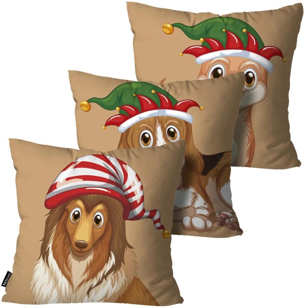 Kit 3 Almofadas Mdecore de Natal Decorativas Bege 55x55