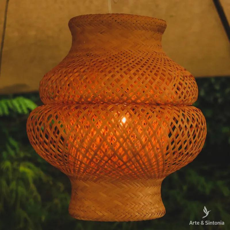 Luminária Indígena Fibra Natural   Arumã