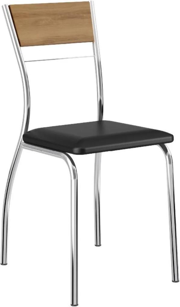Cadeira Tubo Cromado Encosto Noce Napa Preta Carraro