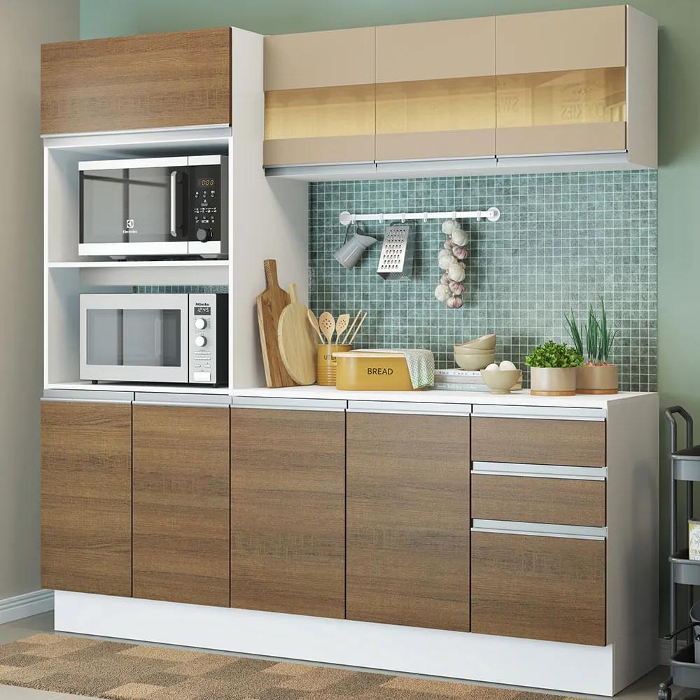 Cozinha Compacta 100% MDF Madesa Smart 190 cm Com Armário, Balcão e Tampo Branco/Rustic/Crema Cor:Branco/Rustic/Crema