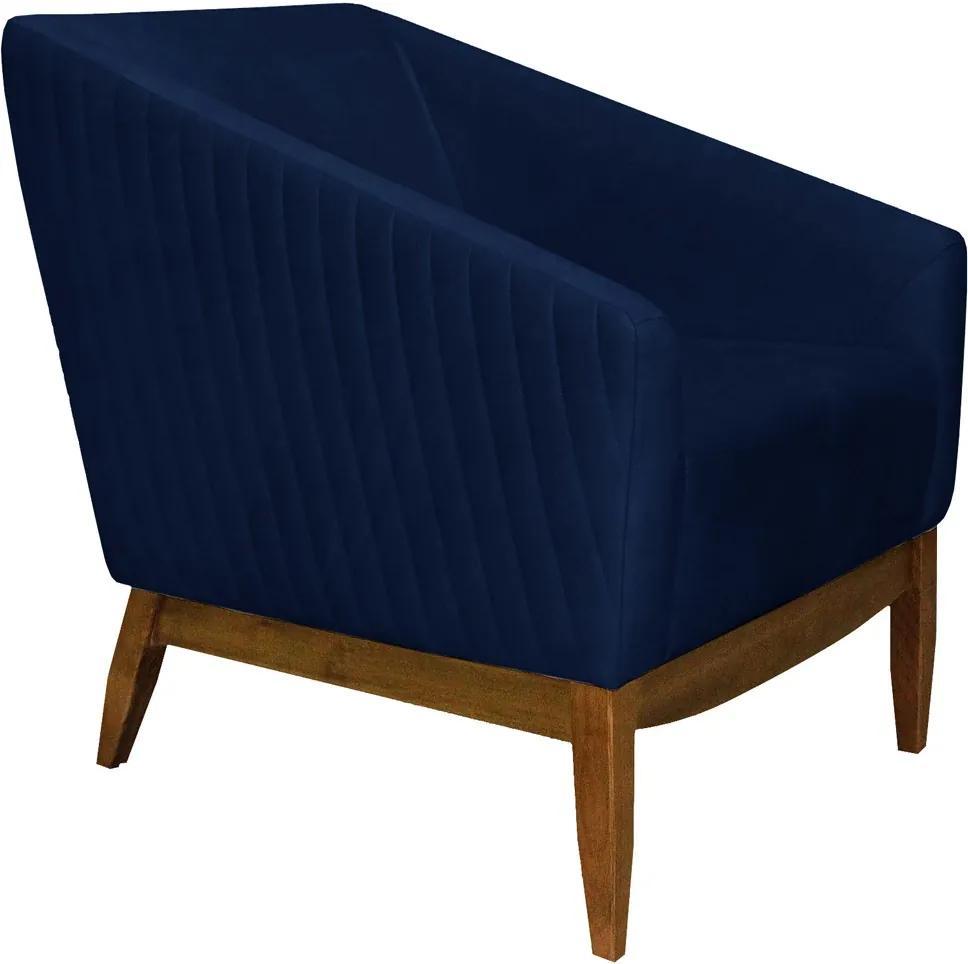 Poltrona Decorativa Sala de Estar Zahara Veludo Azul Bic Tressê - Gran Belo