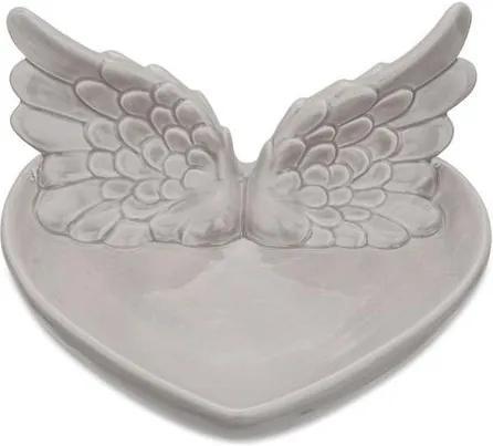 Prato Decorativo Cerâmica Cinza Wings 14cm 8680 Mart