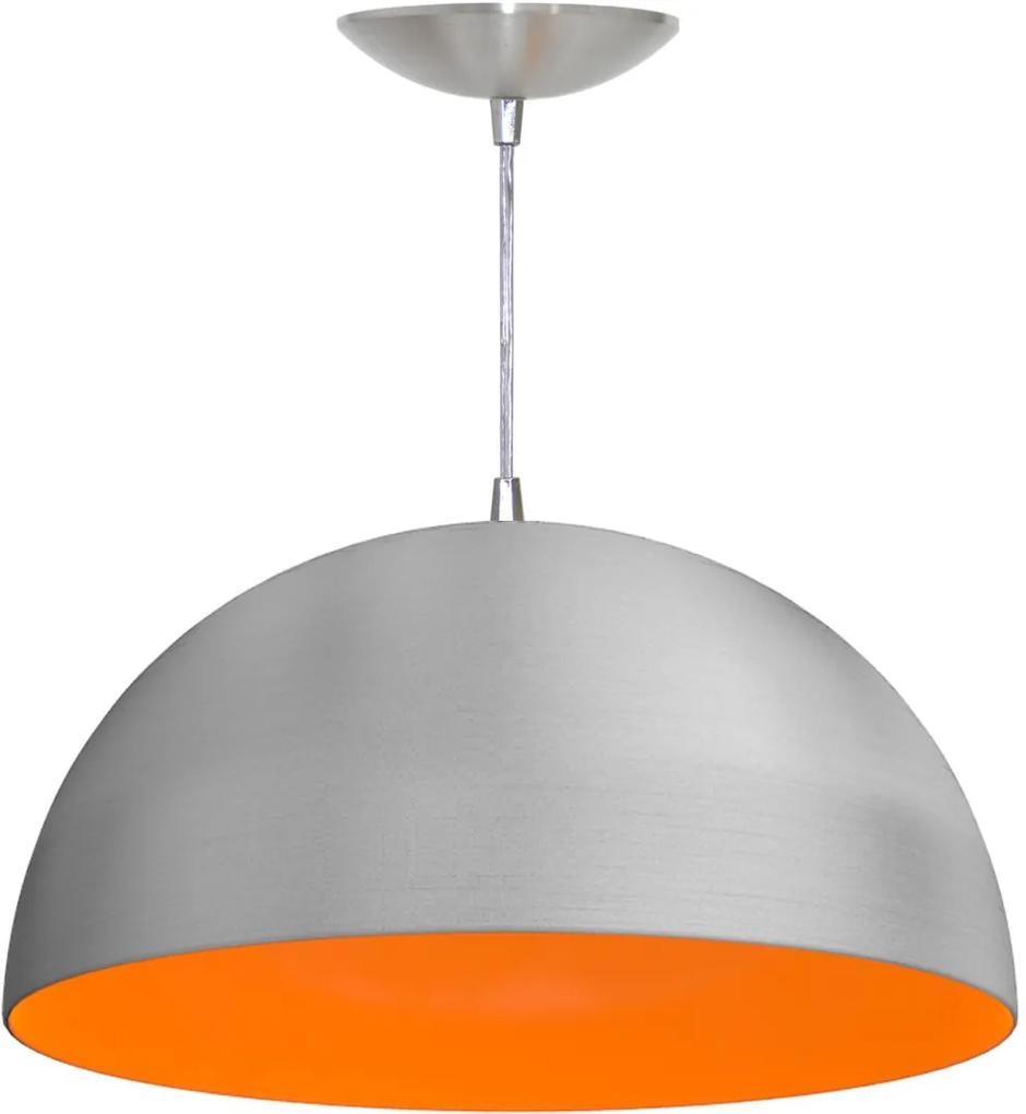 Pendente Meia Esfera de 40 Cm (escovado / Laranja)
