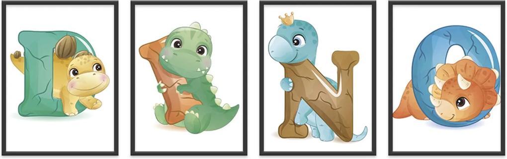 Quadro 40x120cm Infantil Dinossauro Letras Moldura Preta com Vidro Decorativo