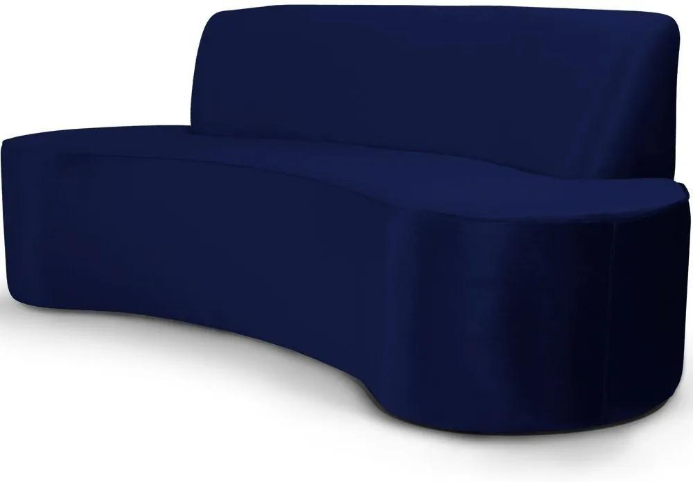 Sofá 4 Lugares Sala de Estar 260 cm Bélgica Veludo Azul Marinho - Gran Belo