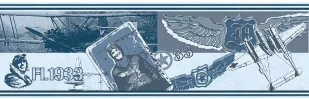 Papel De Parede Border Bambinos Azul Cinza Aviões 3205 Bobinex