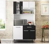 Cozinha Compacta Carol 06 Portas Branco Preto Poliman