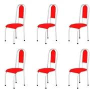 Kit 6 Cadeiras Anatômicas 0.122 Estofada Branco/Vermelho - Marcheli