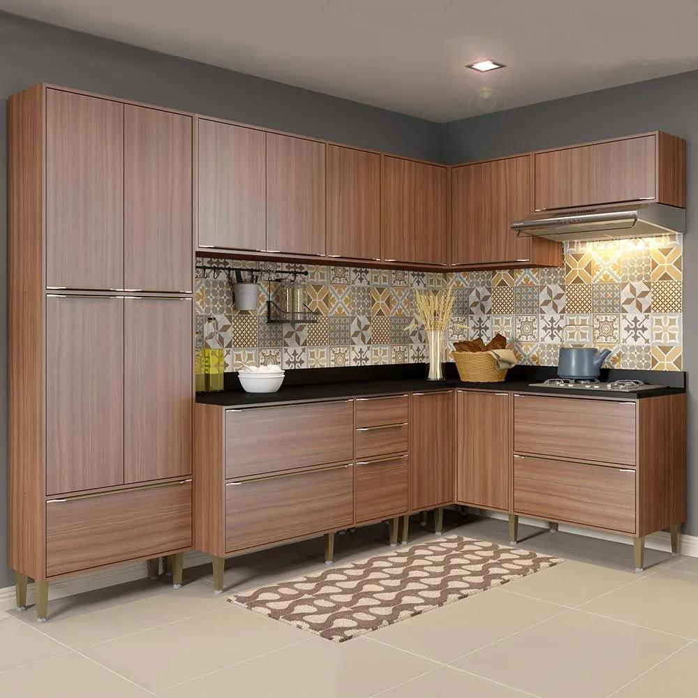 Cozinha Compacta 16 Portas Com Pés 5462 Nogueira/Malt - Multimóveis