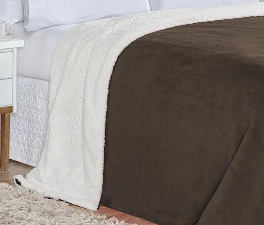 Cobertor King Alaska Tecido Sherpa / Manta Microfibra 01 Peça - Tabaco