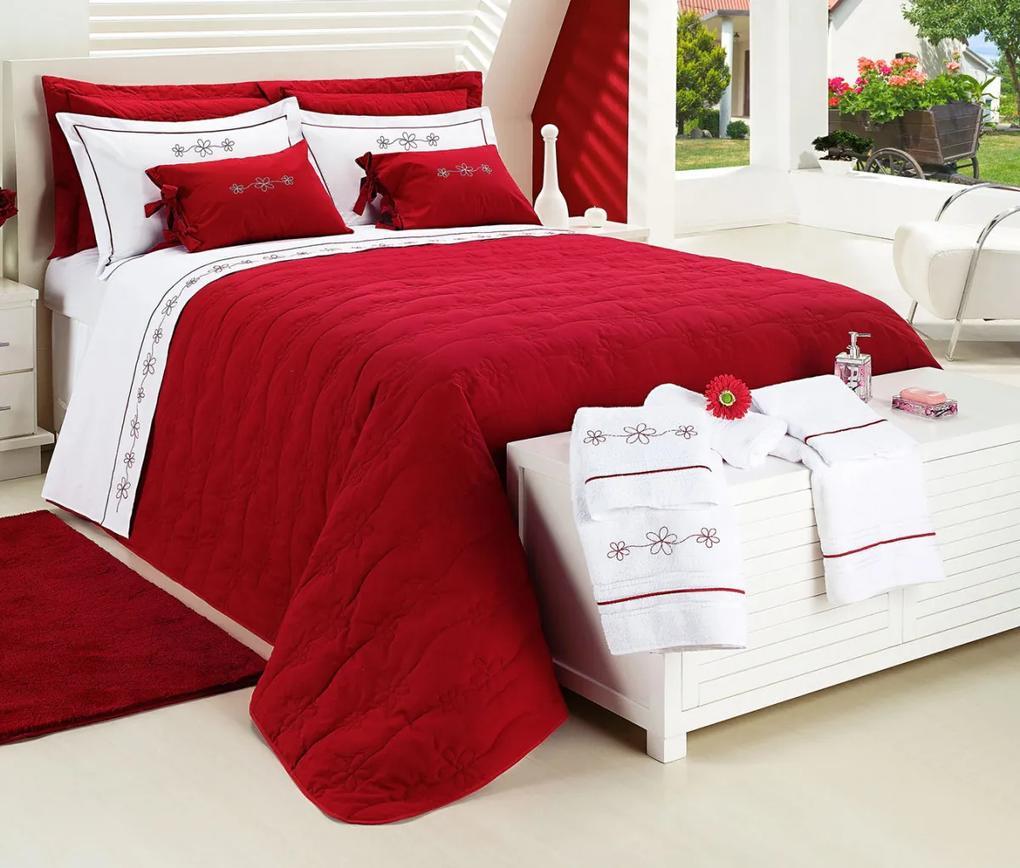Cobre Leito Casal Queen Kit Dolce Percal 150 Fios 09 Pçs - Vermelho Vermelho