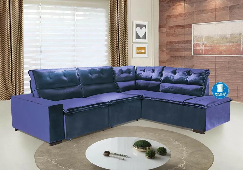 Sofá De Canto Retrátil Com Molas No Assento Europa 7 Lugares 2,78x2,20 Mts Tecido Suede Azul - Umaflex