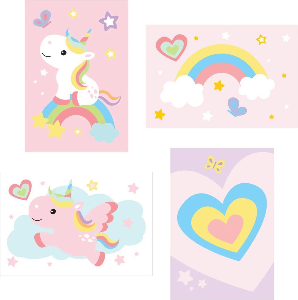 Kit Placa Decorativa MDF Infantil Unicornio 4un