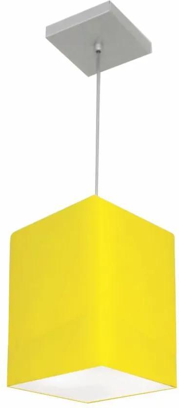 Lustre Pendente Quadrado Md-4007 Cúpula em Tecido 25/16x16cm Amarelo - Bivolt