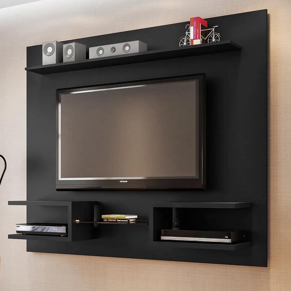 Painel para TV Até 55 Polegadas Atlas Preto Fosco - Móveis Bechara