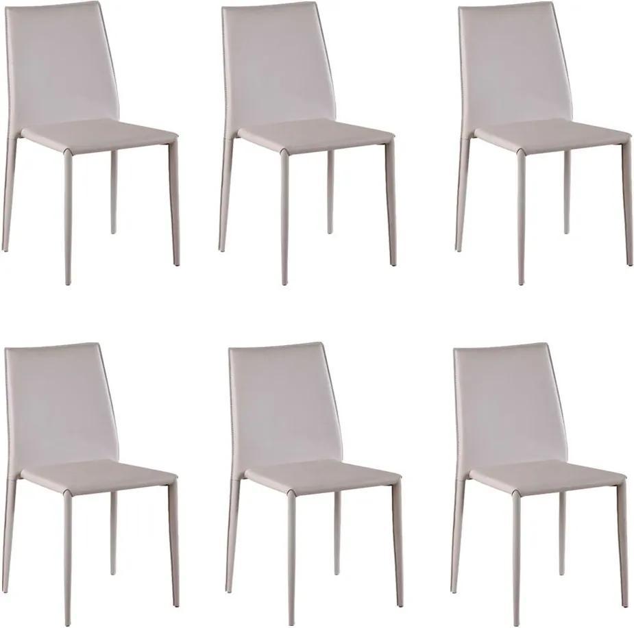 Kit 6 Cadeiras Decorativas Sala e Cozinha Karma PVC Nude - Gran Belo